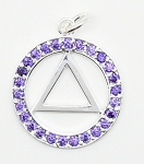AA Symbol Pendant, Sterling Silver Medium Size Amethyst Color