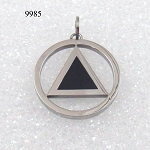 AA Symbol with Black Enamel Stainless Steel Necklace