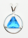 AA Symbol Sterling Silver Medium Size Blue Zircon Color Triangle