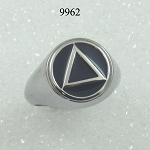 Stainless Steel AA Symbol Dome Ring