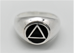 Sterling Silver AA Symbol with Black Enamel Dome Ring
