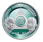 Painted Green and Nickel Plated Anniversary AA Coins