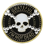 Grateful I'm Not Dead Bling Recovery Medallion with Skull & Cross Bone Crystals  AA NA