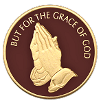 But For The Grace Of God Painted Coin with Praying Hands