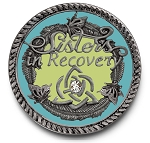 Sisters in Recovery Turquoise Premium Specialty Medallions  AA|NA|Al-Anon