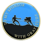 To My Sponsor With Gratitude, Male Inspirational Recovery Coin AA NA Al-Anon