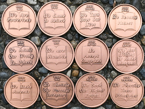 Copper 12 Step Sobriety Medallions