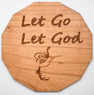 Laser Engraved Cherry Wood Coaster Let Go Let God