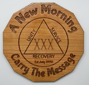 Laser Engraved Cherry Wood Coaster A New Morning 30th Celebration