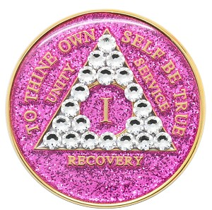 Crystallized Glitter Pink and Diamond Medallion