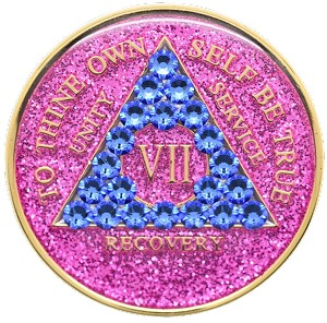 Crystallized Glitter Pink and Sapphire Medallion
