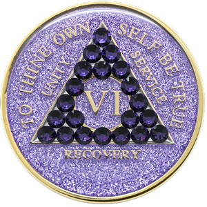 Crystallized Glitter Purple Medallion