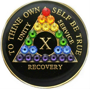 Rainbow Black Crystallized Medallion