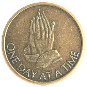 Praying Hands Antique Bronze Affirmation Token  AA|NA|Al-Anon
