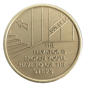 The Elevator Is Broken Antique Bronze AA Medallion  AA|NA|Al-Anon