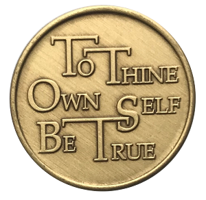 To Thine Own Self Be True with Serenity Prayer Bronze Affirmation Coin