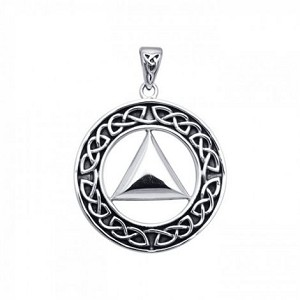 Focus on Healing Celtic AA Recovery Sterling Silver Pendant