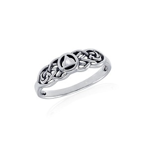 Sterling Silver Celtic AA Recovery Ring with Mother of Pearl Triangle