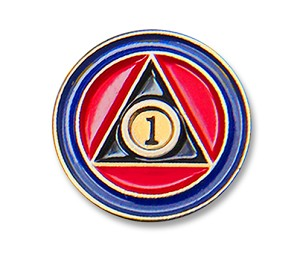 AA Anniversary Year Tri Colored Recovery Lapel Pin