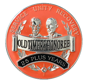 Old Timers Honoree Red/Orange AA Medallions