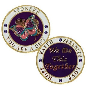 Sponsee with Butterfly Inspirational Recovery Coin